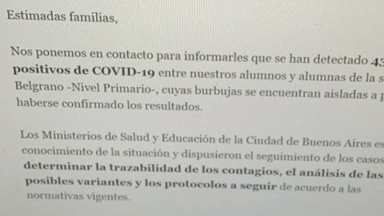 Delta: la institución notificó a las familias del alumnado.