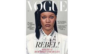 "Premiere: Rihanna velvet Durag on ""Vogue"""