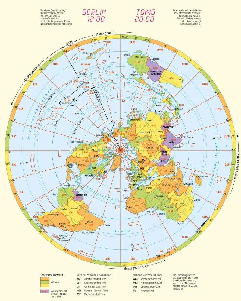 | Zeitzonen | Kartenlesen - Gradnetz und Orientierung | Karte 10/3