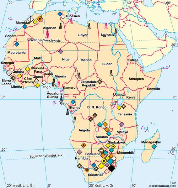 Afrika   Bergbau   Afrika - Wirtschaft   Karte 179/3