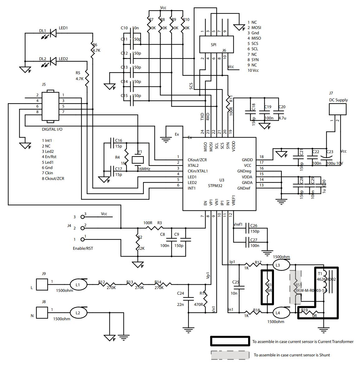 Evalstpm32 Class 0 2 Single Phase Power Meter With Shunt