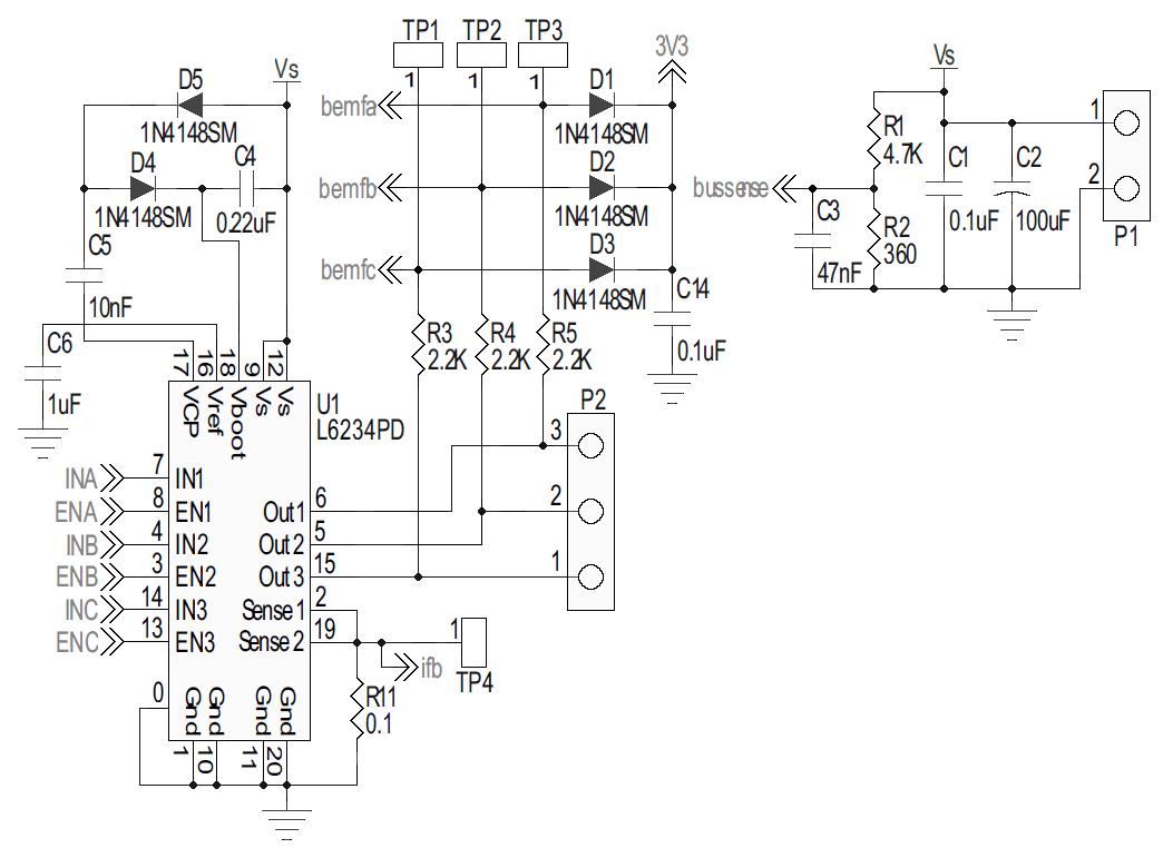 STEVAL-IHM043V1: 2A, 7 ~ 42V, 3-Ph Sensorless PMSM