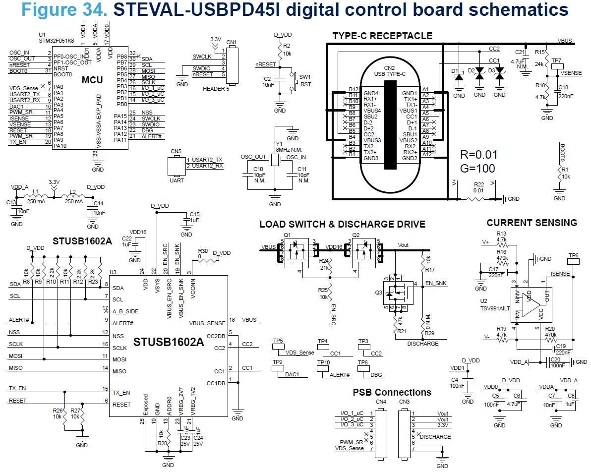 Steval Usbpd45c 45w Usb Type C 90 264v In