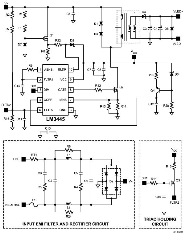 LM3445-120VFLBK: 8W, 4~8 LEDs @ 365mA, 120V, TRIAC