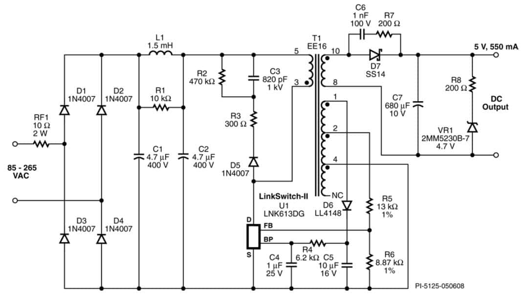 115 vac schematic usb power chargers