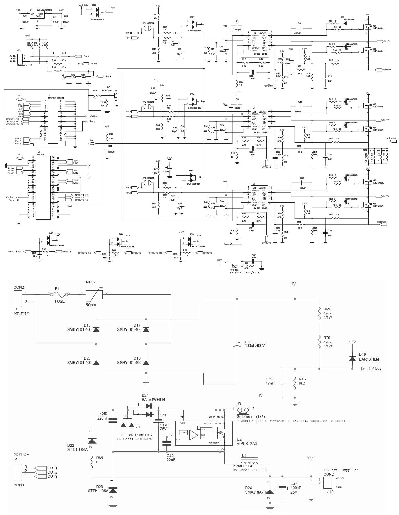 hight resolution of steval ihm021v2 100w pmsm motor driver 110 230v digikey 10 schematic diagram of variable frequency