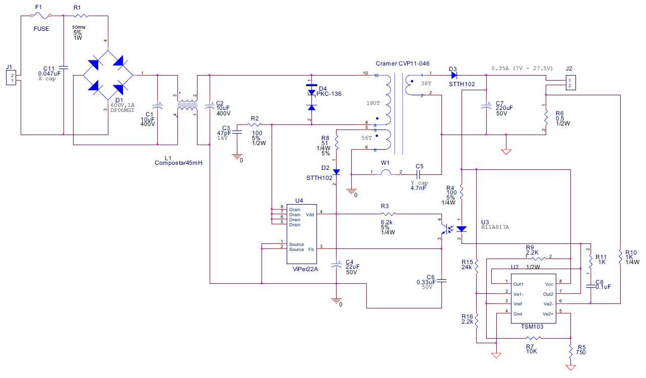 110v 220v Motor Wiring Diagram Viper22 Led Ev 350ma 32v Max 90 264vac In Digikey