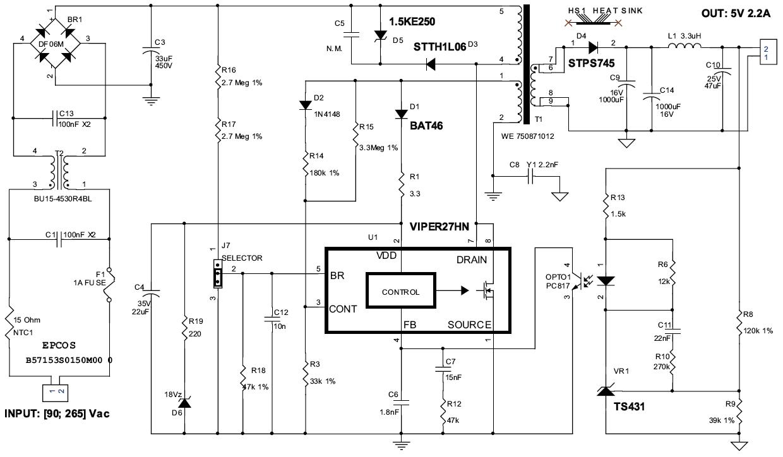 simple smps 230v ac to 5 v dc,1A