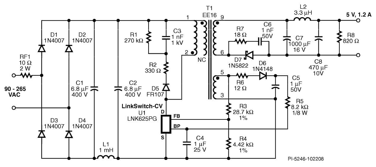 simple smps 230v ac to 5 v dc,1A