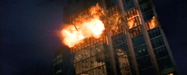Burning skyscraper in Heaven's Fire.