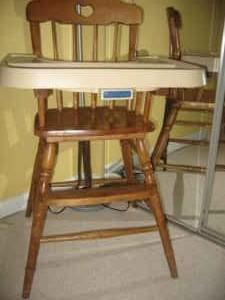 high chair buy baby cream faux leather accent wtb-wood from late 1980's-fisher price brand - discoverstuff