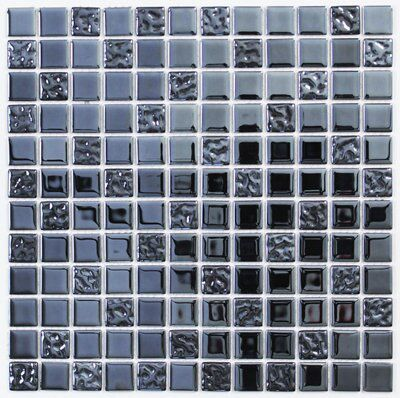 anthracite black navy glass mosaic tile l 300mm w 300mm