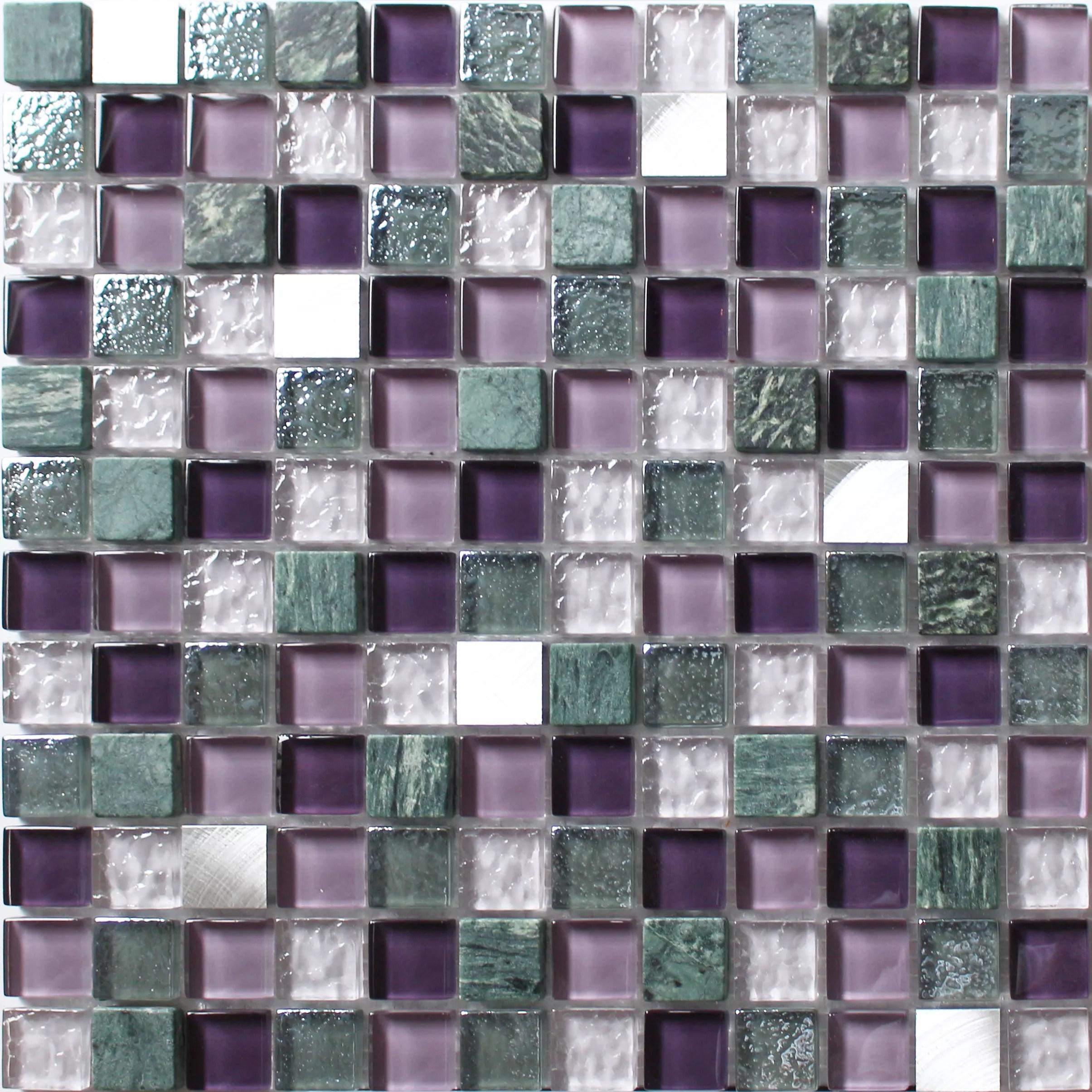 camden purple stone effect glass marble mosaic tile l 300mm w 300mm