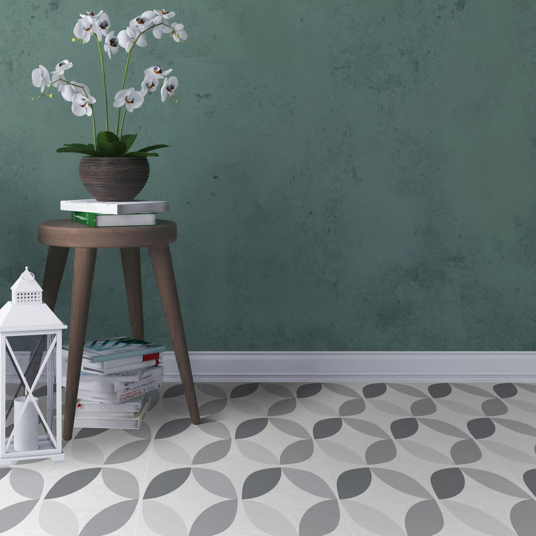 d c fix grey white geometric tile effect self adhesive vinyl tile pack of 11