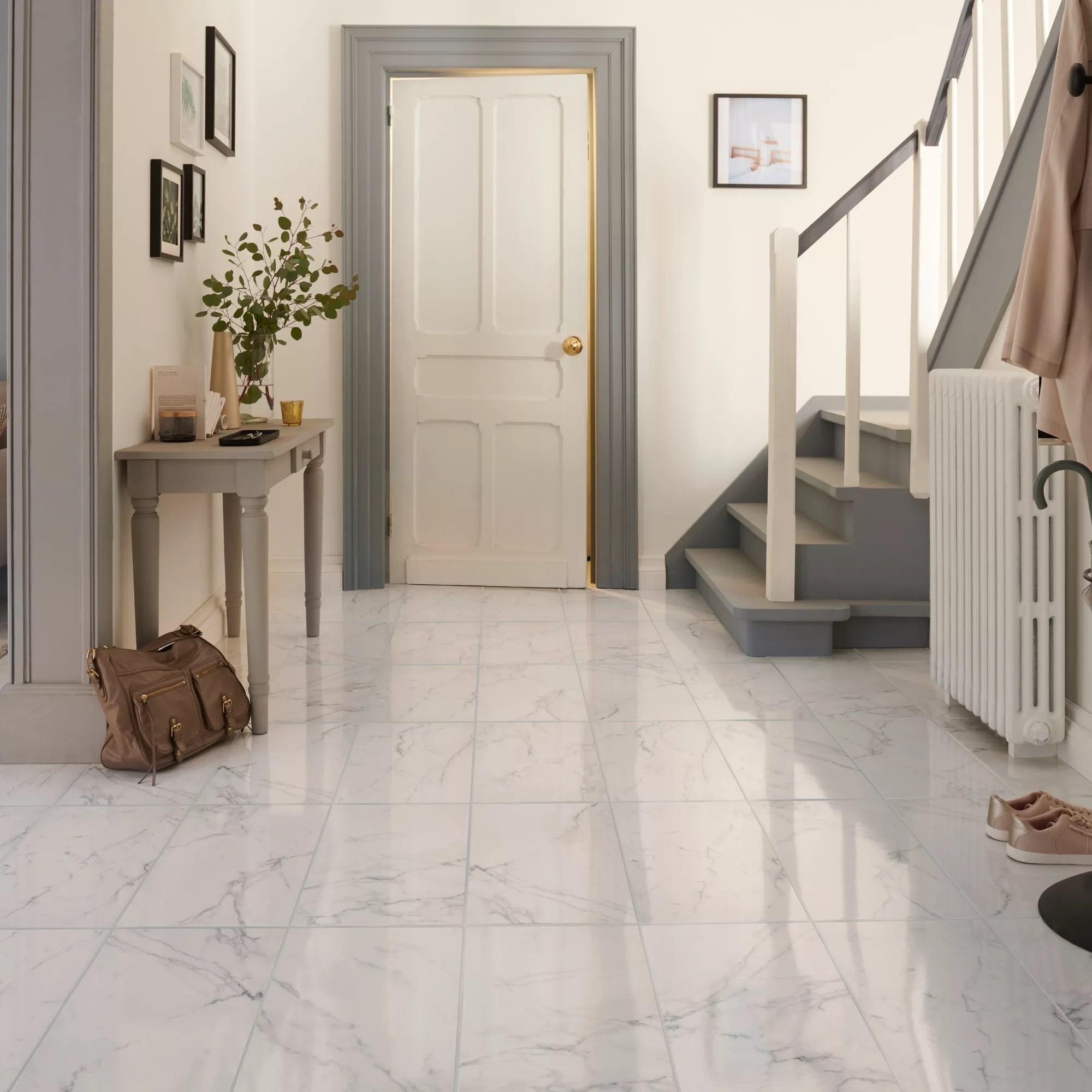elegance white gloss marble effect ceramic floor tile pack of 7 l 600mm w 300mm