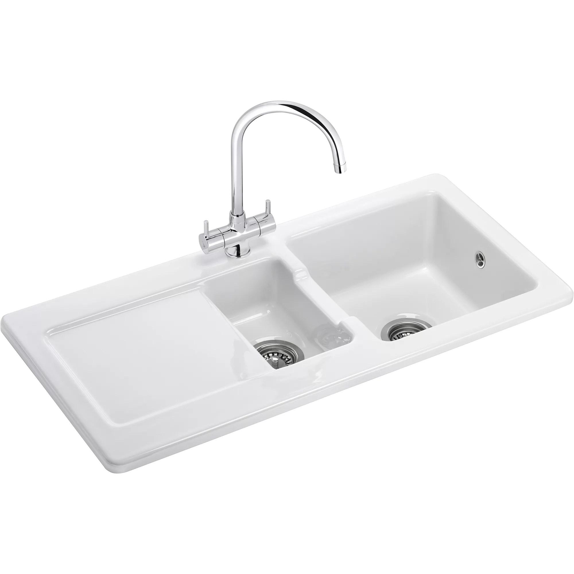 franke livorno gloss white ceramic 1 5 bowl sink