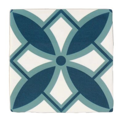fusion blue white satin patterned ceramic wall tile pack of 25 l 140mm w 140mm