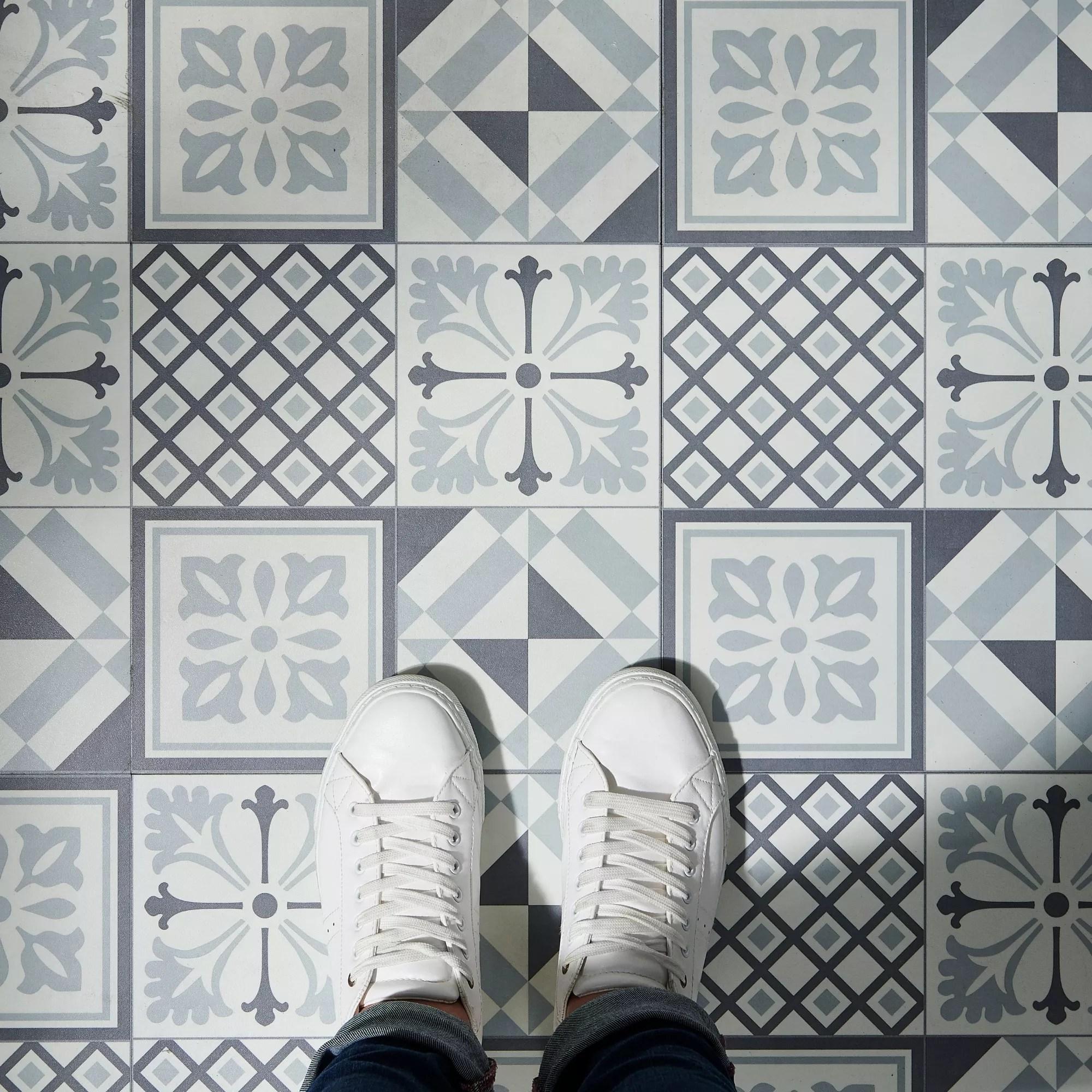 goodhome poprock black white mosaic mosaic effect self adhesive vinyl tile pack of 14