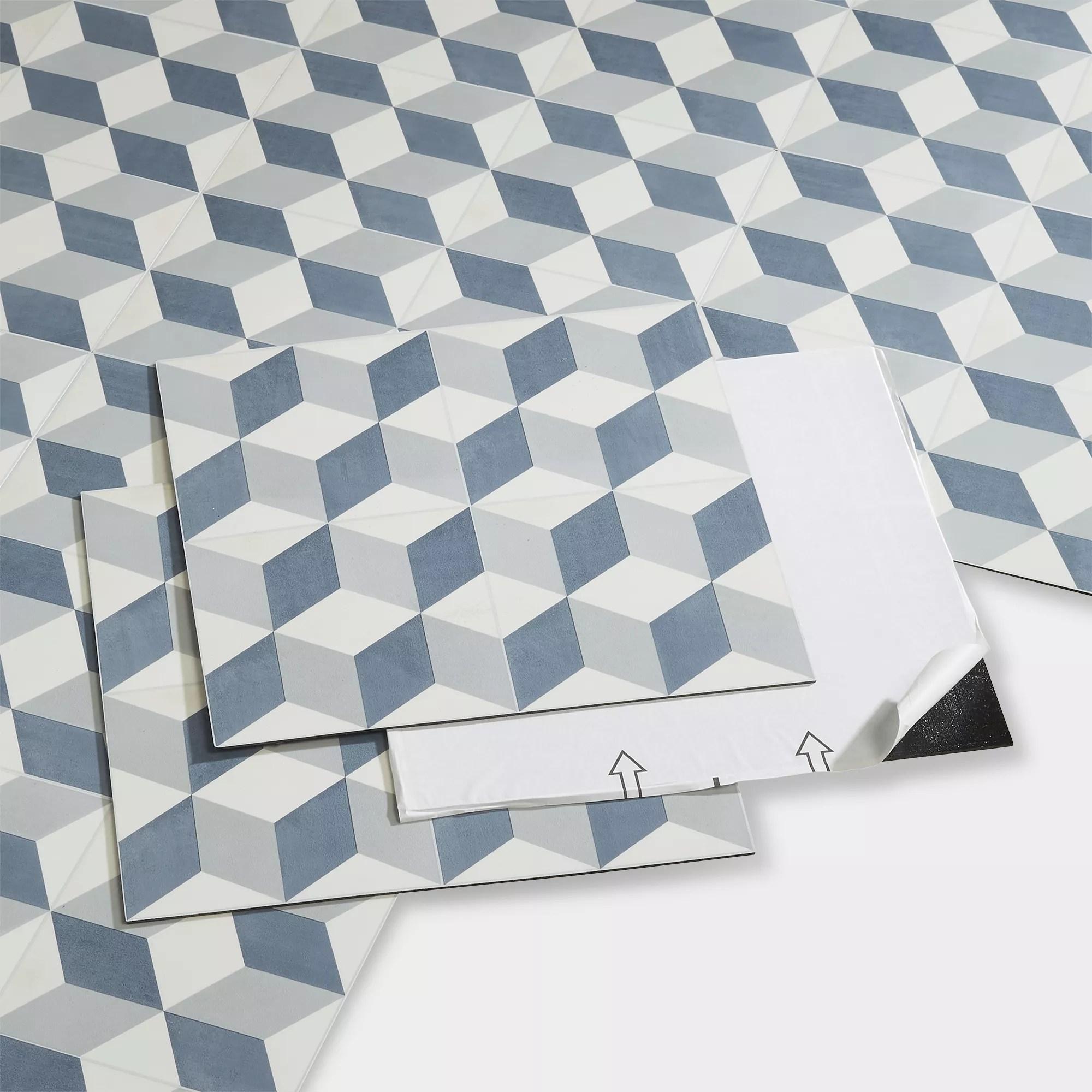 goodhome poprock blue geometric mosaic effect self adhesive vinyl tile pack of 14