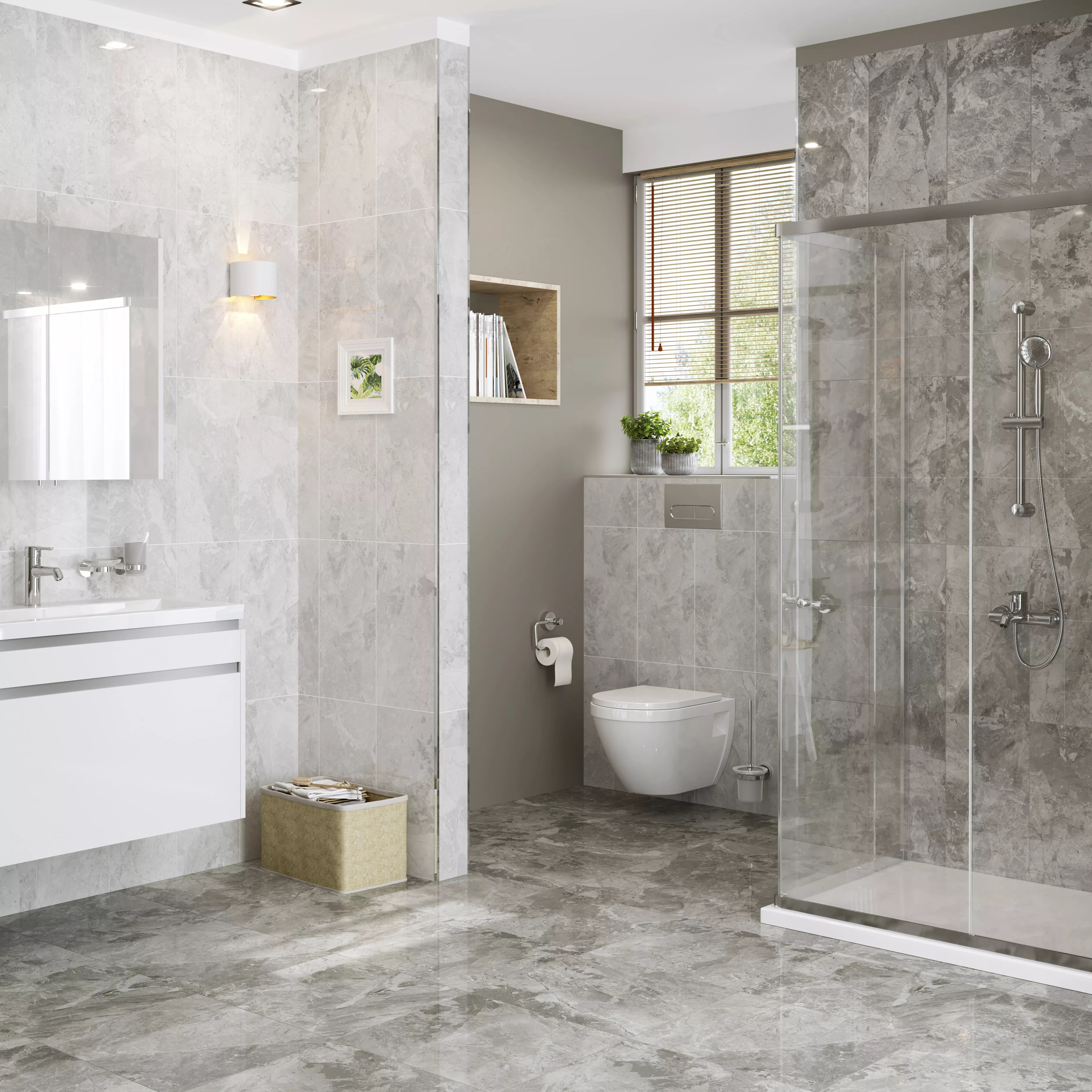 harmony grey gloss marble effect ceramic wall tile pack of 8 l 500mm w 250mm