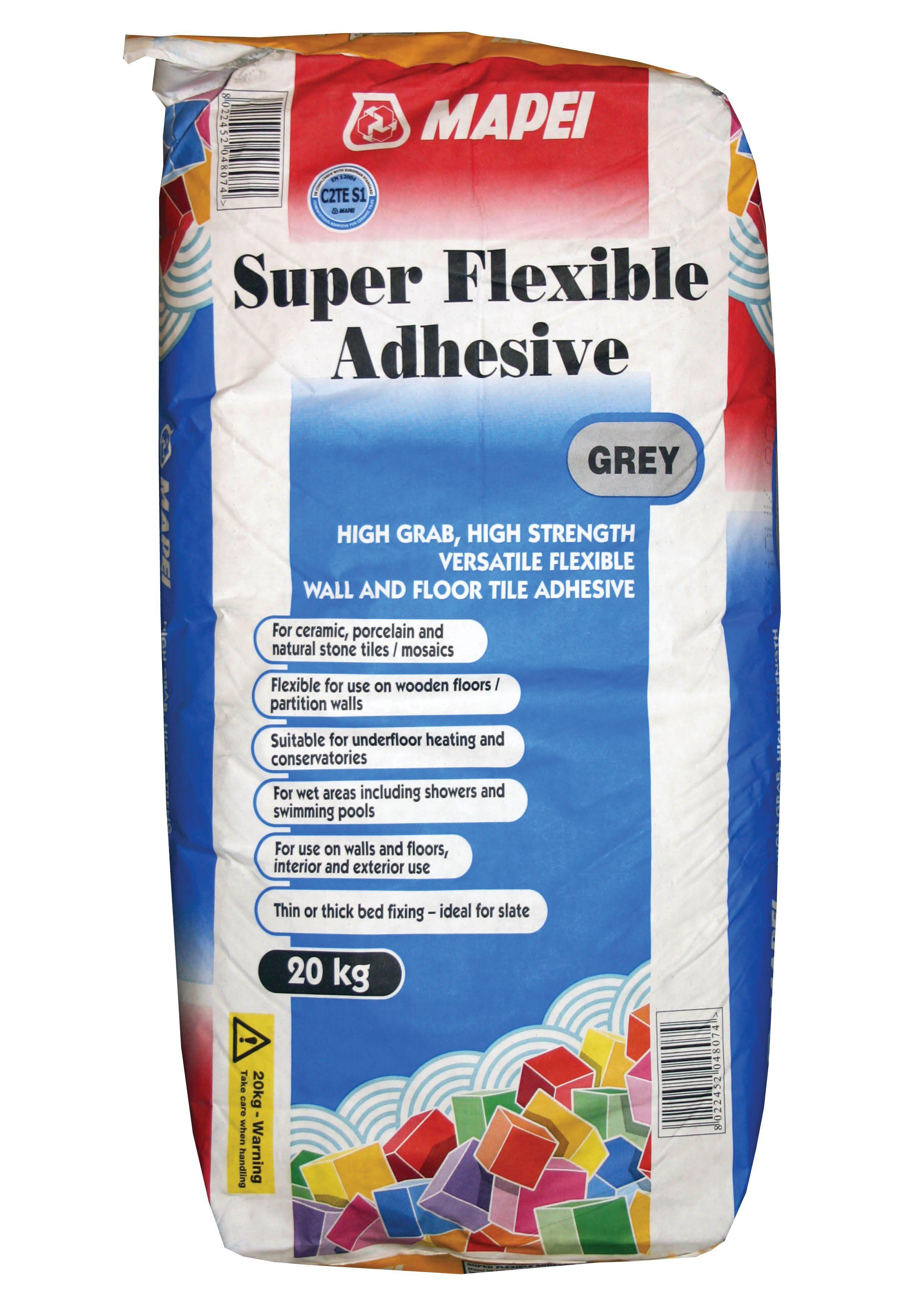 mapei super flexible grey tile adhesive 20kg