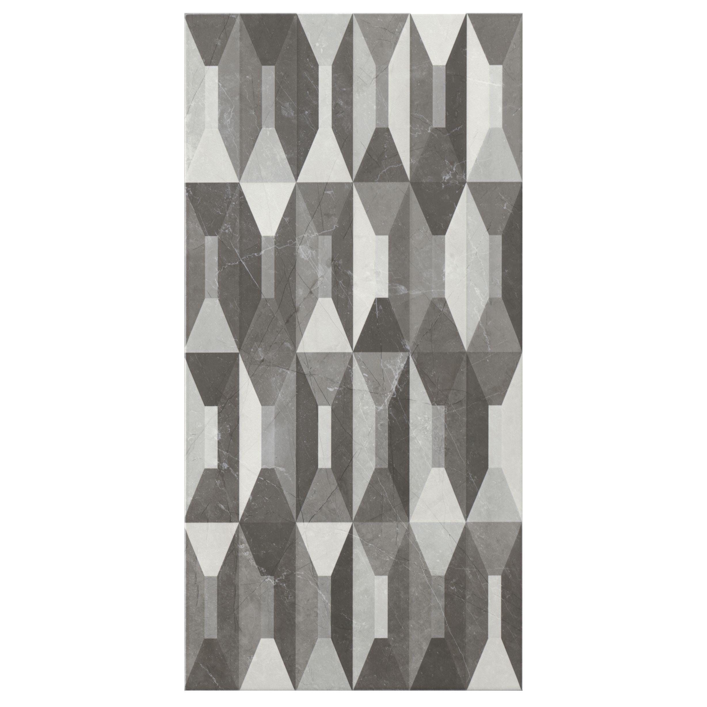 memphis black white gloss harlequin effect ceramic wall tile pack of 5 l 600mm w 300mm