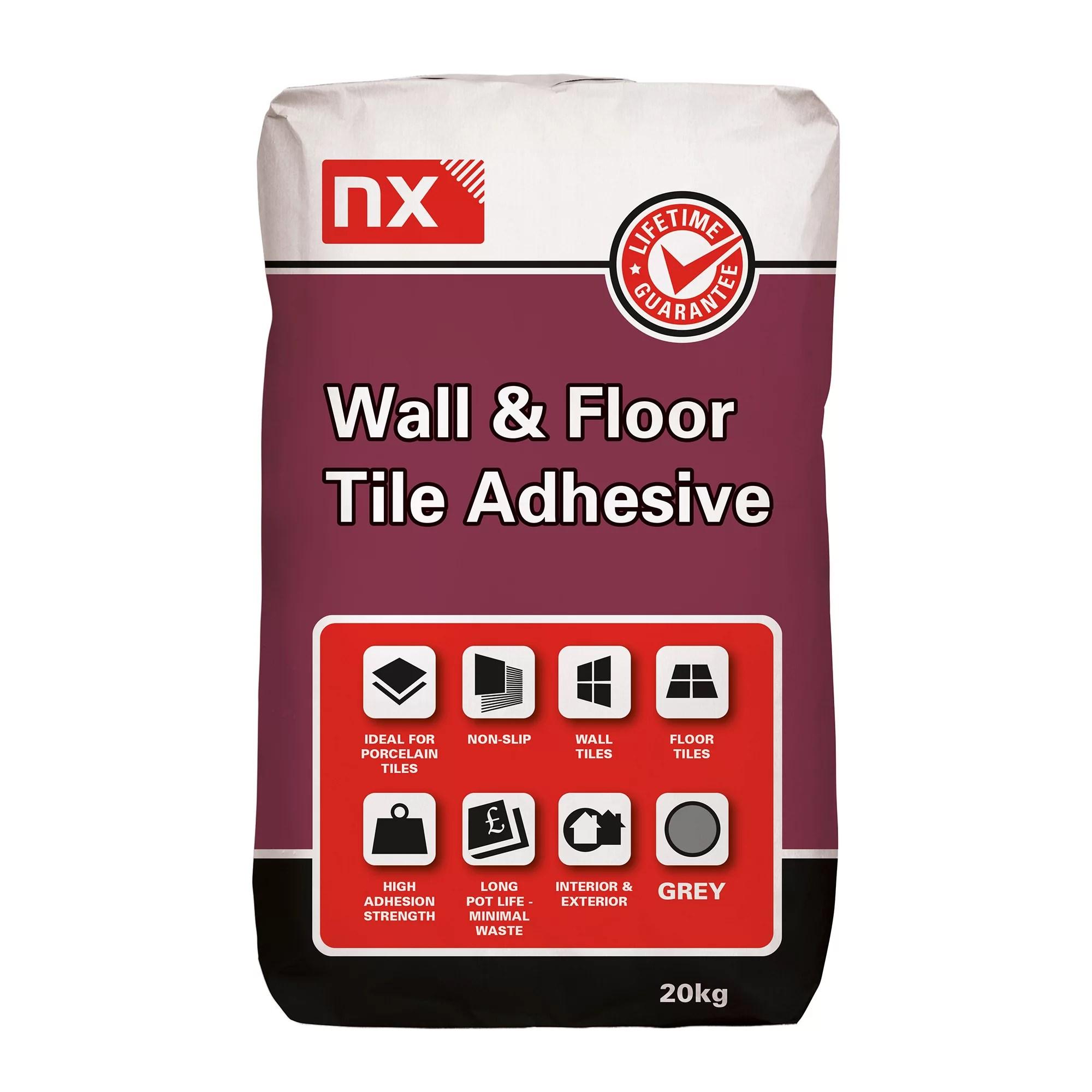 nx standard set grey tile adhesive 20kg