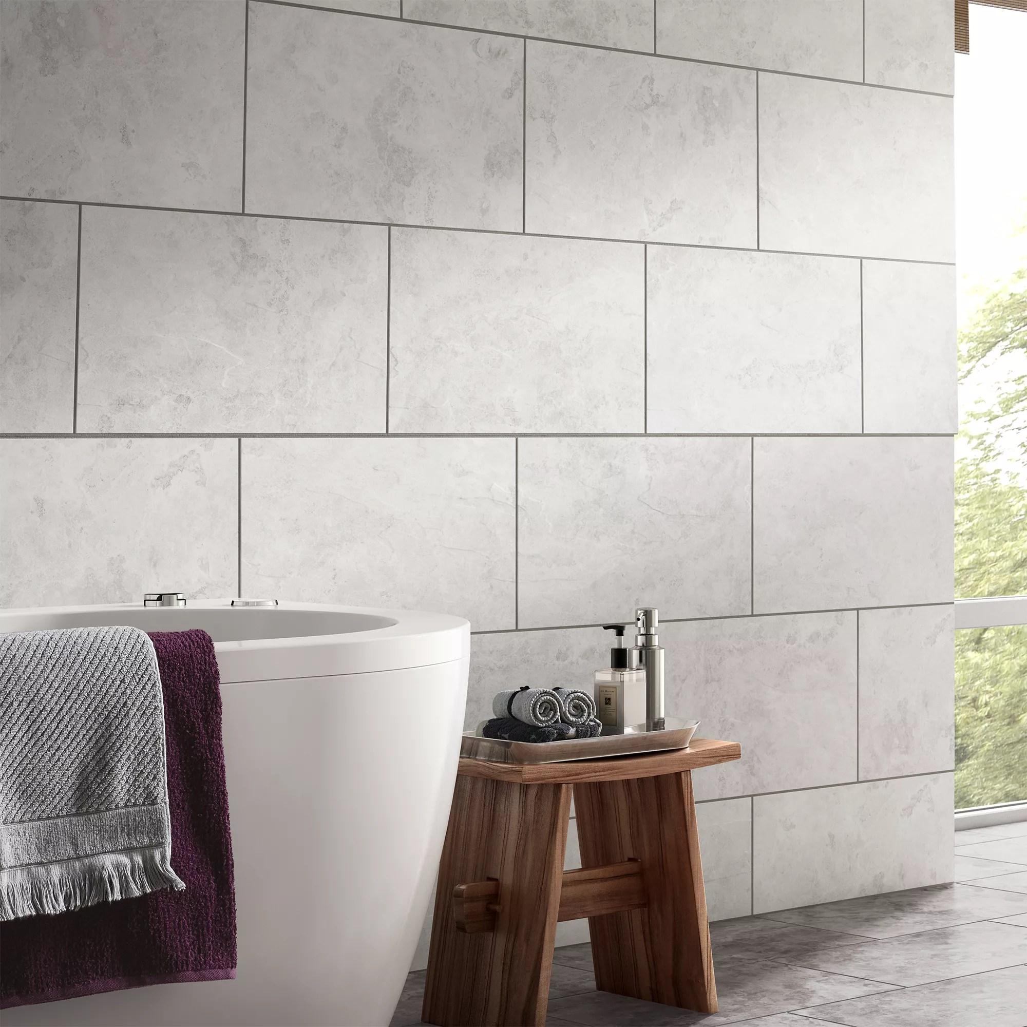 oscano light grey matt stone effect ceramic wall floor tile pack of 6 l 300mm w 600mm