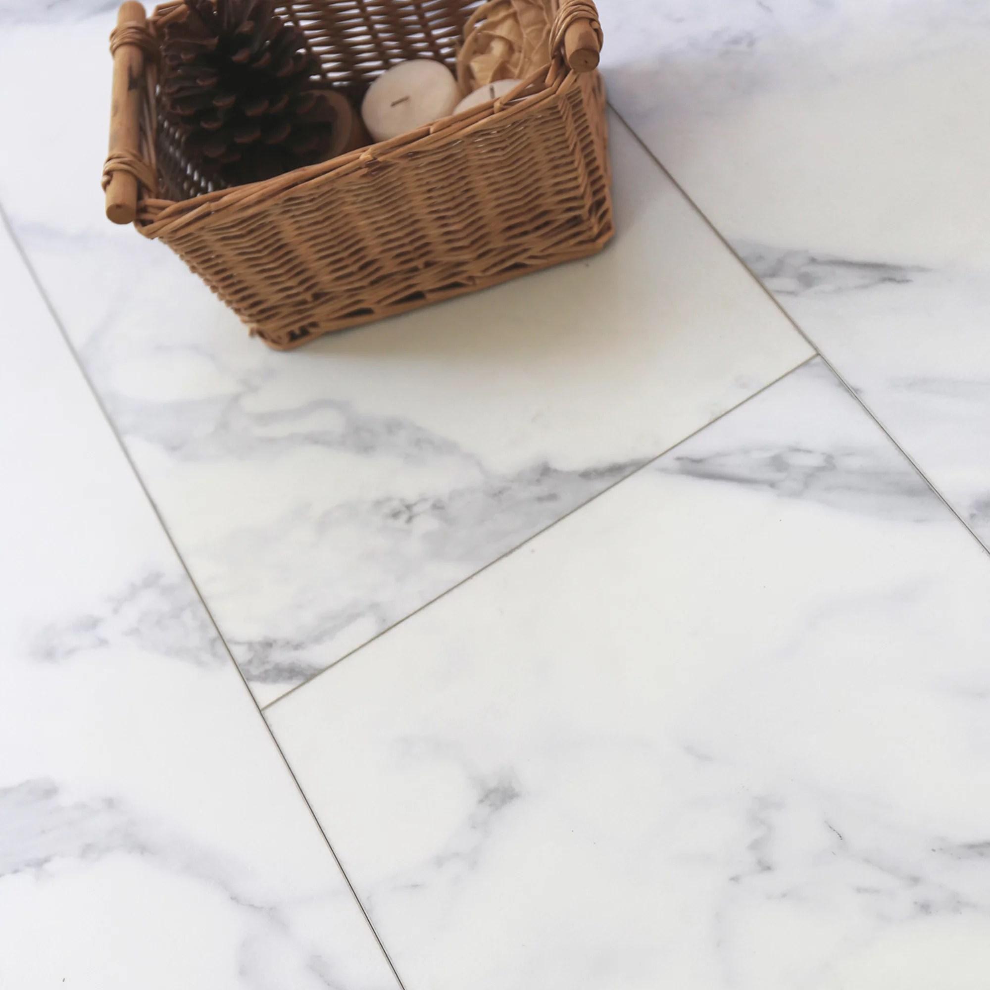 showhome white marble effect luxury vinyl flooring tile 2 16m pack