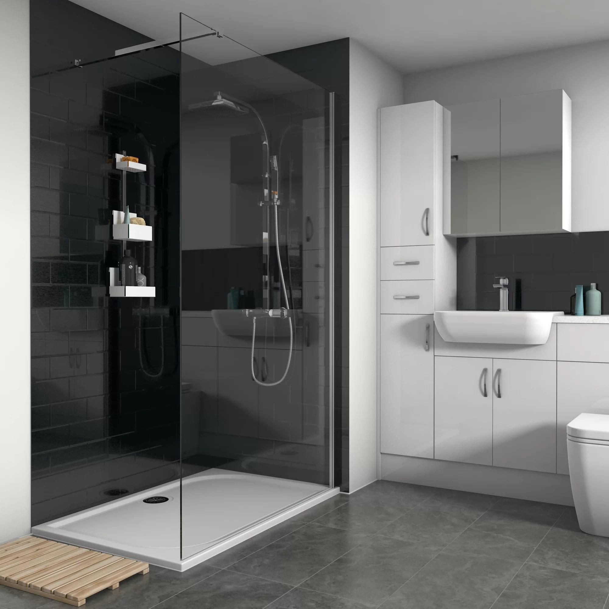 splashwall gloss brushed black tile effect shower panel h 2420mm w 1200mm t 3mm