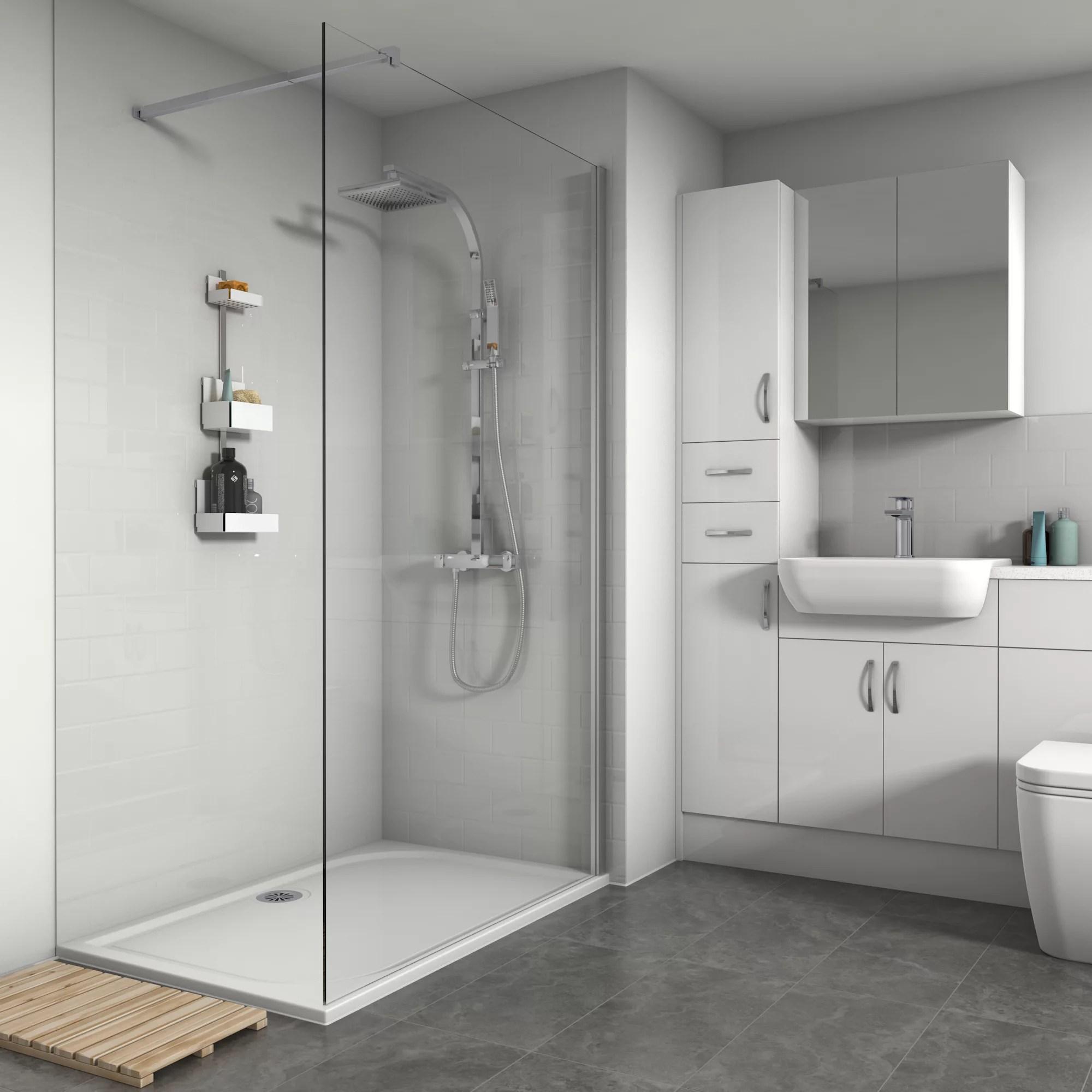 splashwall gloss white tile effect shower panel h 2420mm w 1200mm t 3mm