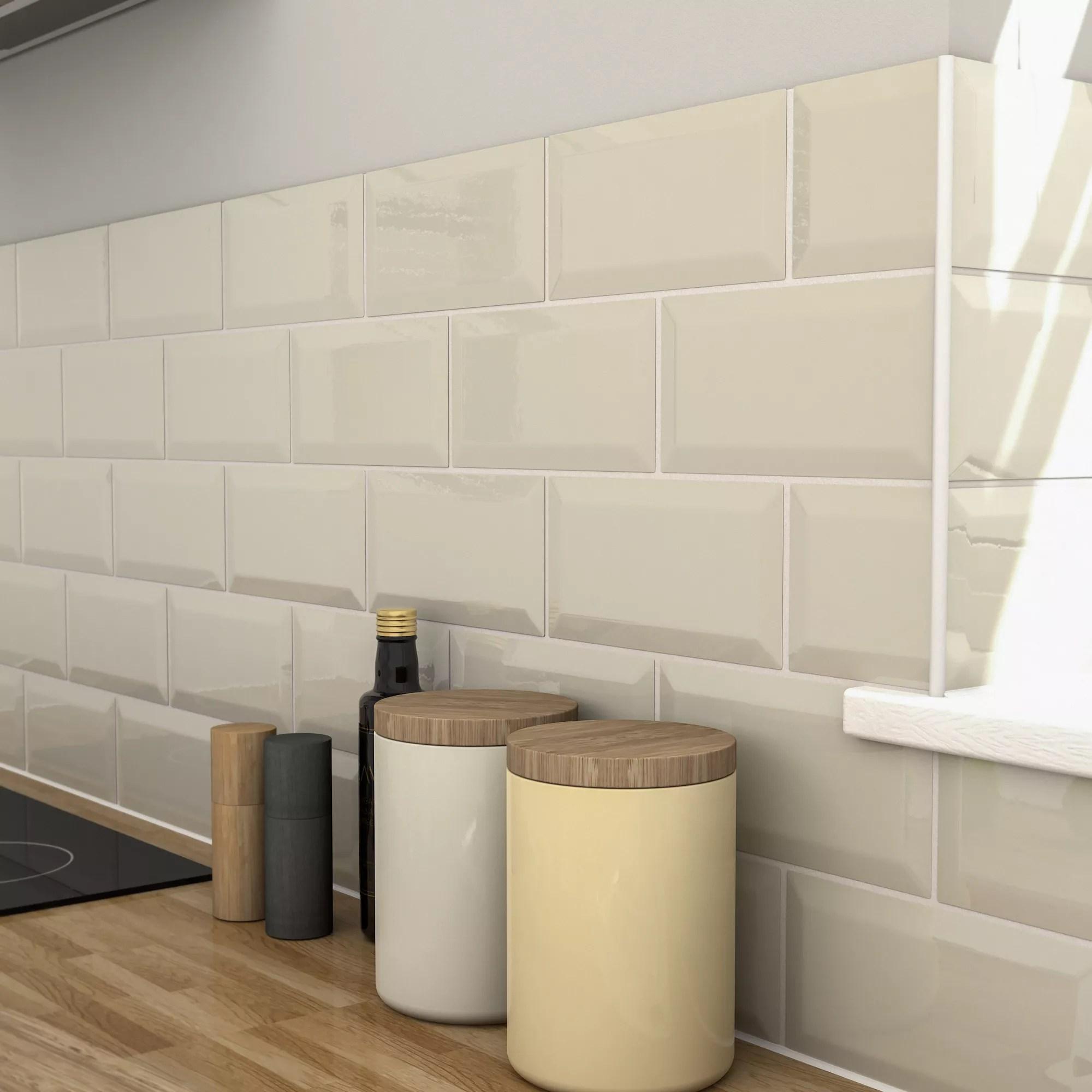 trentie ivory gloss metro ceramic wall tile pack of 40 l 200mm w 100mm