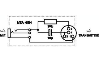 Adaptador Mini XLR 4 polos hembra a jack 2,5 hembra
