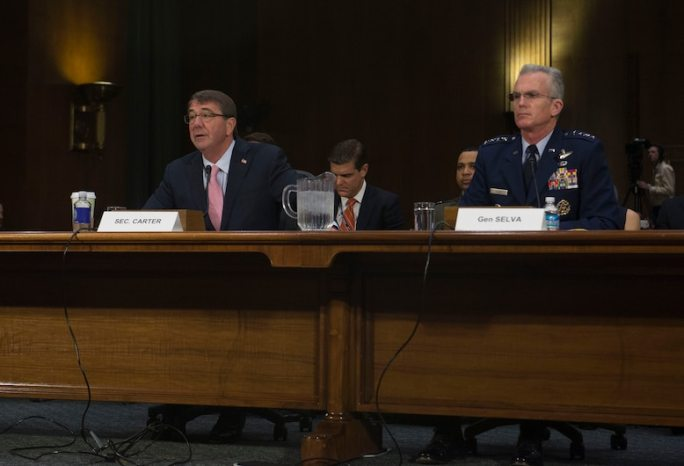 Defense Secretary Ash Carter, left, and Air Force Gen. Paul J. Selva, vice chairman of the Joint Chiefs of Staff, testify before the U.S. Senate Armed Services Committee on Capitol Hill, in Washington, D.C., Dec. 9, 2015. DoD photo by U.S. Navy Petty Officer 1st Class Tim D. Godbee