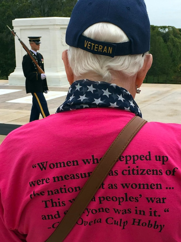 A veteran from the first all-female honor flight pays respect at Arlington National Cemetery during a tour of the nation's capital and surrounding areas, Arlington, Va., Sept. 22, 2015. DoD photo by Lisa Ferdinando