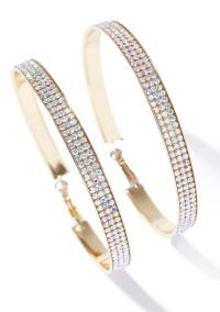 Rhinestone Big Gold Hoop Earrings