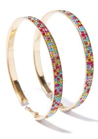 Colorful Rhinestone Big Gold Hoop Earrings