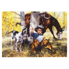 "Western Chair Pads Vintage Kitchen Chairs Jack Sorenson's ""the Artist"" Puzzle - Jigsaw Puzzles Easy Comforts"