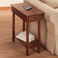 Chairside Table with USB Power Strip by OakRidge- Easy ...
