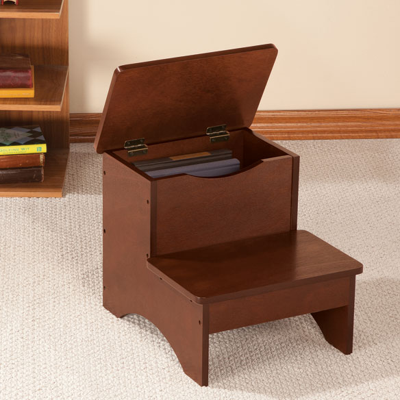 wooden step stool chair indoor cushions canada with storage by oakridge easy comforts view 1