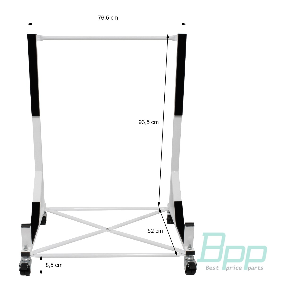 White Hard Top Stand Storage Cover 4 Wheels For
