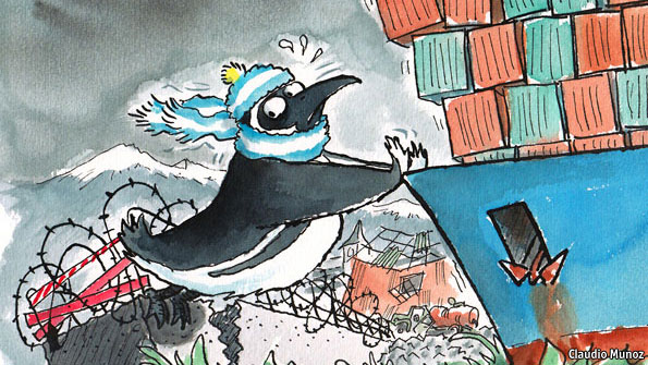 Cartoon depicting Argentinas new policy to protect domestic industry.  (Photo Courtesy of The Economist)