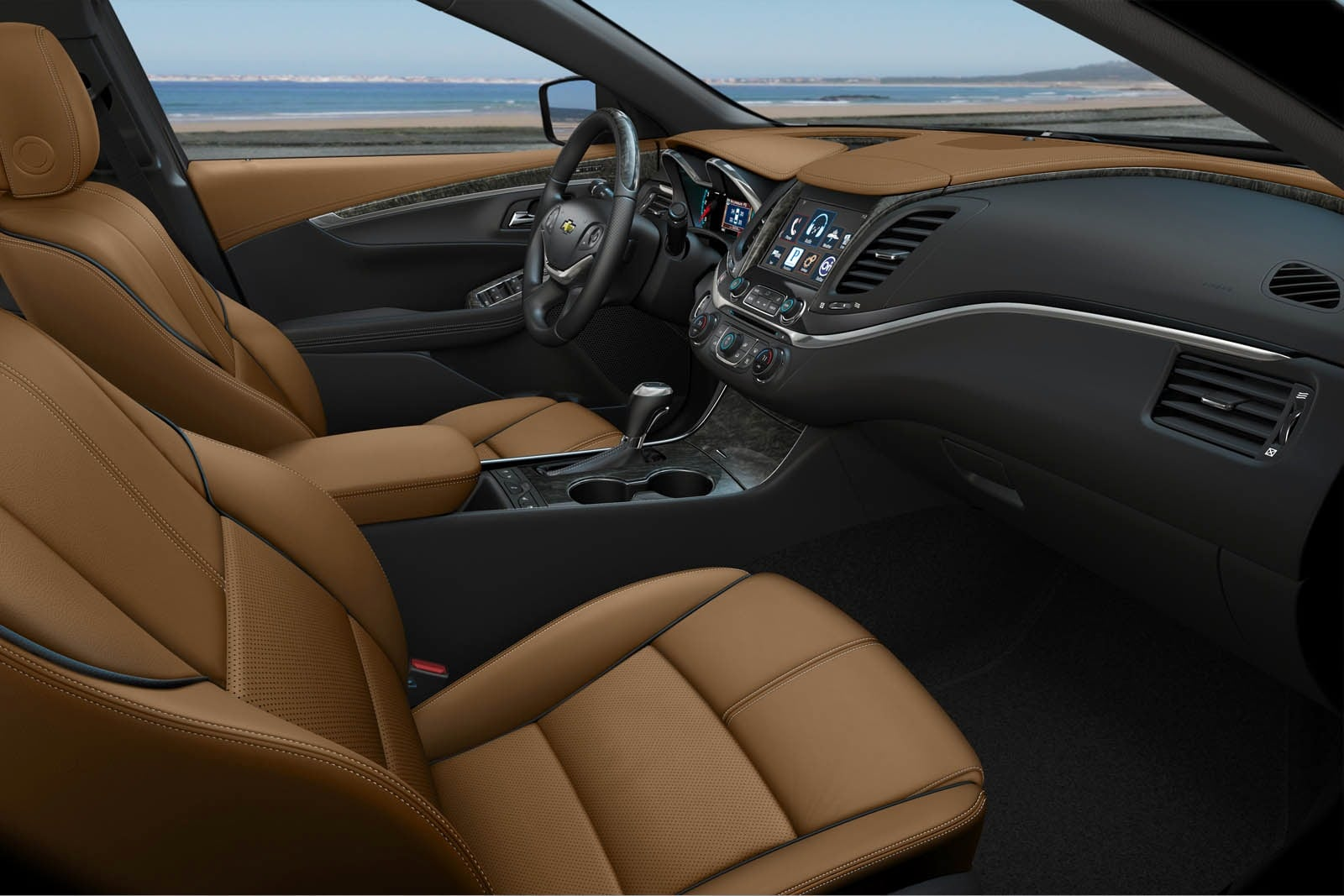 hight resolution of the interior design is sharp though materials quality in some places is underwhelming leather upholstery comes standard on the impala premier