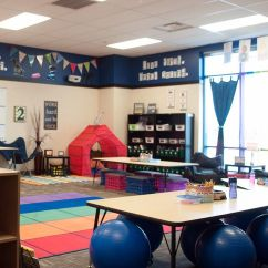 Chair Connected To Desk Wing Covers Canada Flexible Seating And Student Centered Classroom Redesign Edutopia A Large Studentless With Blue Bouncy Balls Sofa Chairs Folding