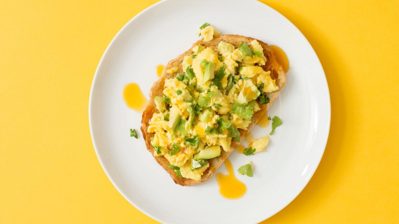 spicy avocado eggs on