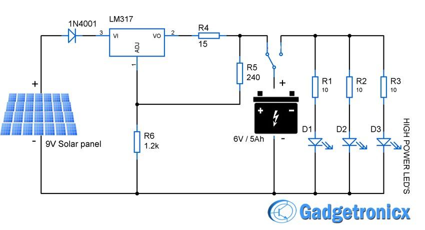 led lamp driver circuit diagram chinese atv wiring 110 solar powered light | electronics infoline