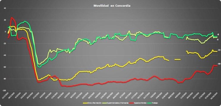 La movilidad en Concordia, dividida en 4 grandes rubros o actividades (fuente Google).