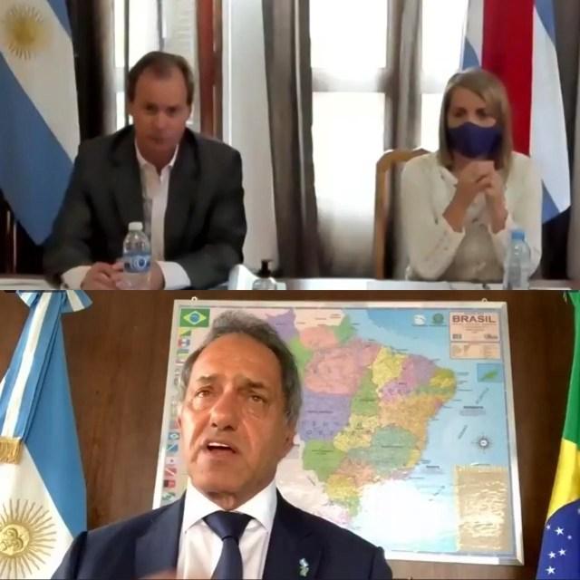 Acompañado por la vicegobernadora, Gustavo Bordet mantuvo una videollamada con el embajador argentino en Brasil.