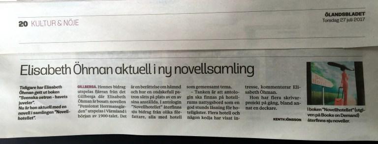 Ölandsbladet: Elisabeth Öhman aktuell i ny novellsamling
