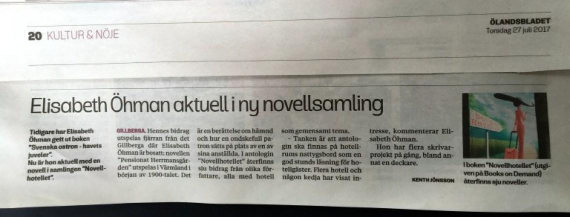 Elisabeth Öhman aktuell i ny novellsamling